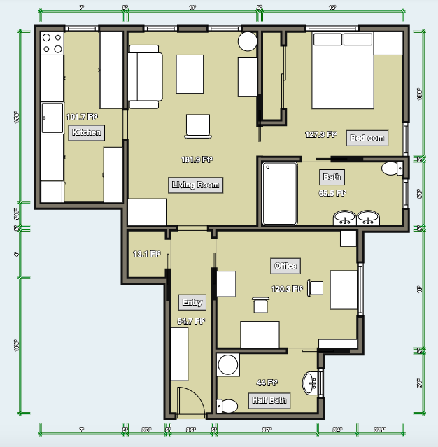Layout with Renovated Bedroom